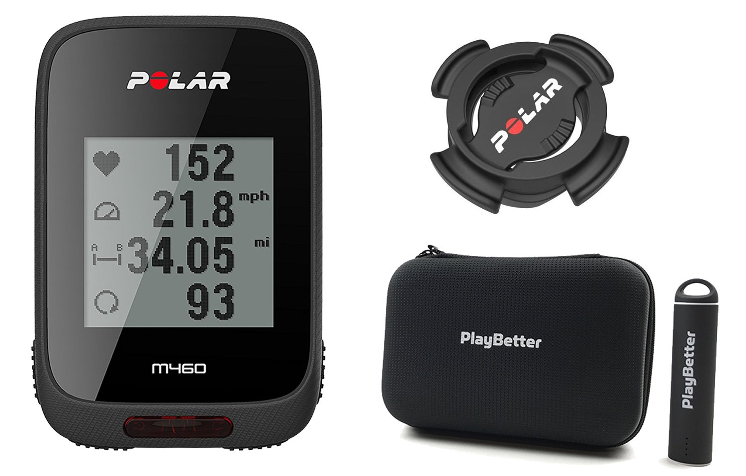 Polar M460 GPS Bike Computer with PlayBetter Portable USB Charger, Hard Carrying Case & Bike Mount POWER BUNDLE | Strava Live Segments, Smart Notifications