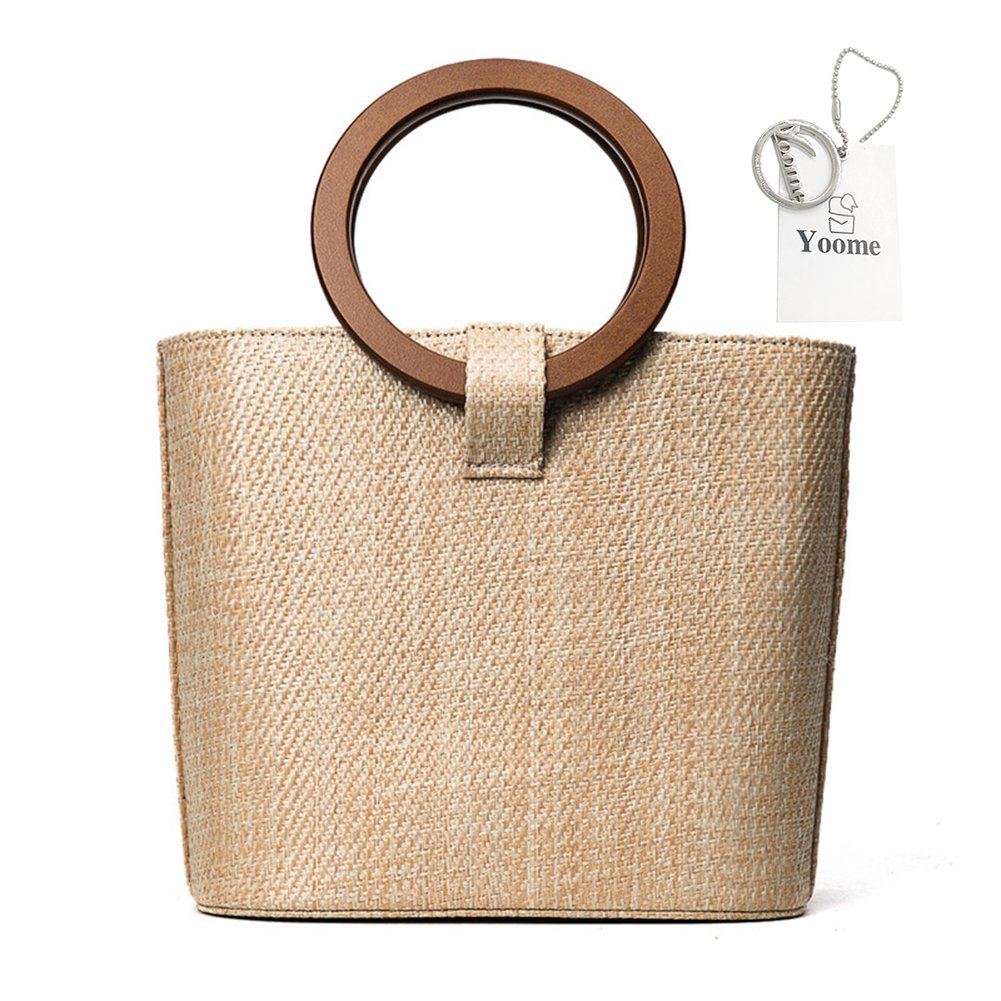 Yoome Women's Top Handle Straw Beach Bag with Wood Handle Totes Long Strap Crossbody Shoulder Bag