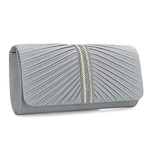 YYW Evening Bag - Cartera de mano para mujer, color plateado, talla Talla Unica