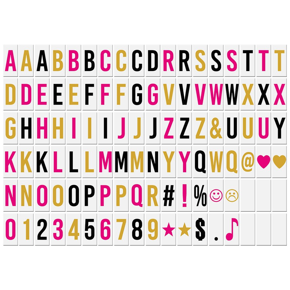 Aibecy Lettere Numeri Carte 102pcs Intercambiabili per fai da te LED Cinema Casella di Luce Bacheca Messaggi
