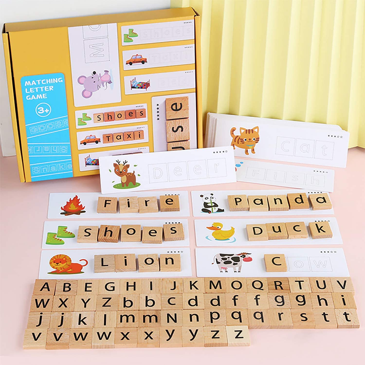 3-in-1 Spelling Learning Game Wooden Spelling Words Enlightenment Baby kids Toy