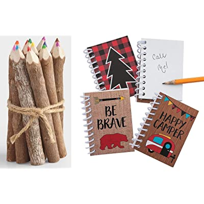 HAPPY DEALS ~ Woodland Camping Adventure Notepads - (24 Pack) and Colored Twig Pencils (12) Bundle: Toys & Games