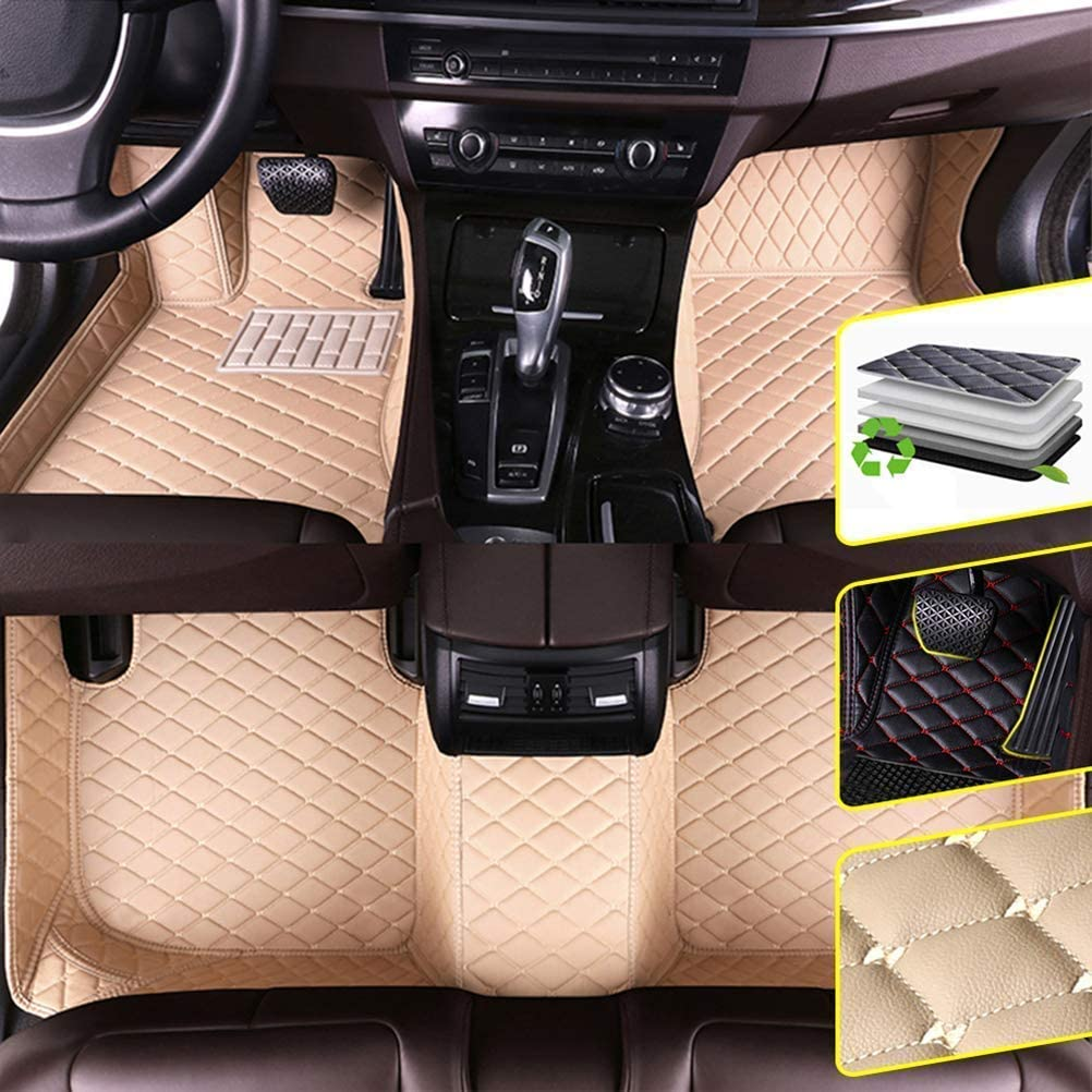DBL Custom Car Floor Mats for Ford 2016-2018 Ford Explorer Waterproof Non-Slip Leather Carpets Automotive Interior Accessories 1 Set Black