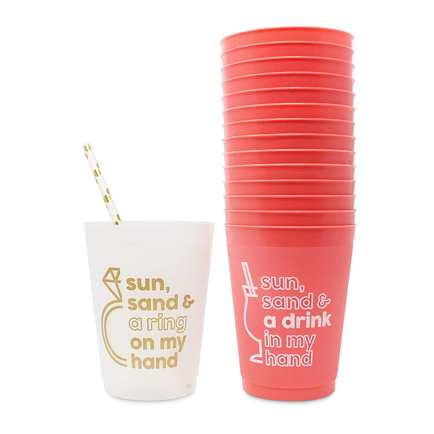 16 oz | Beach Bachelorette Party Cups Decorations Sun /& Sand Bachelorette Party Cups by Stag /& Hen Supplies 15 Pack With Bonus Cup For The Bride