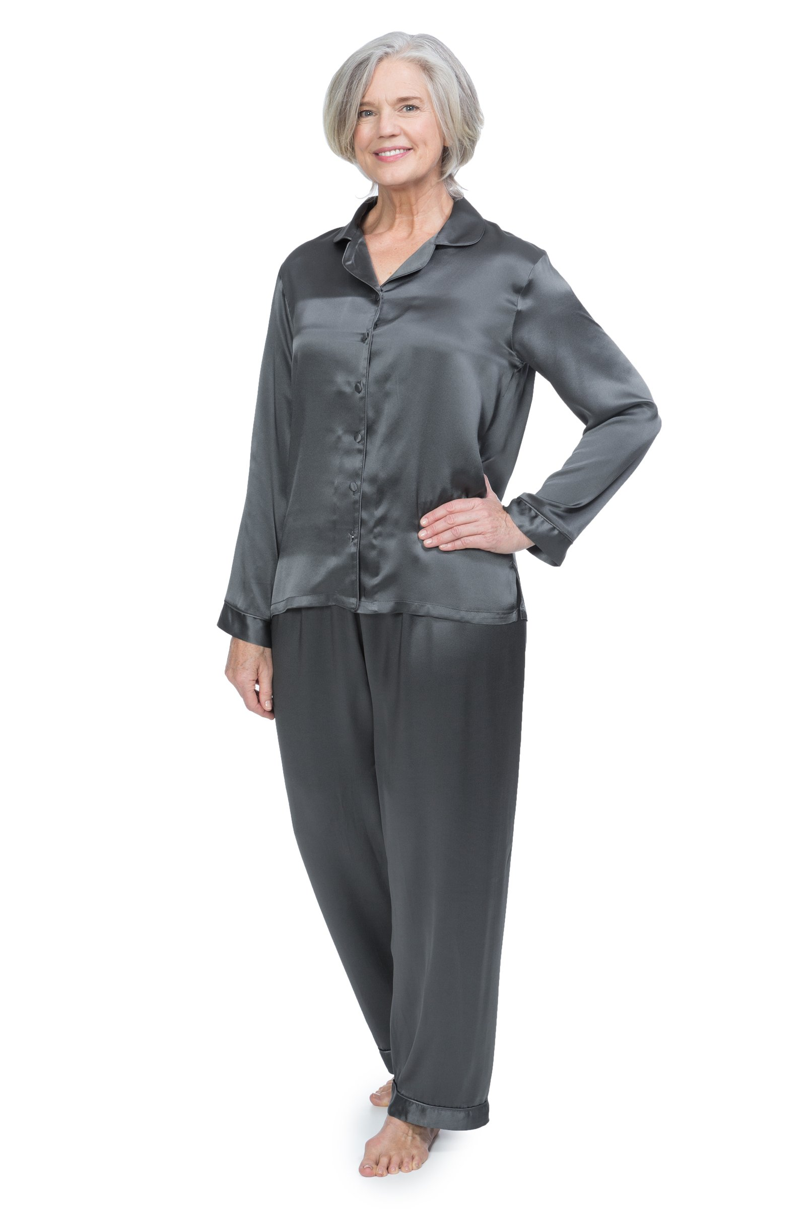 Women's 100% Silk Pajama Set - Luxury Sleepwear Pjs by TexereSilk (Morning Dew, Pewter, Medium) Cute PJs for Her WS0001-PWT-M