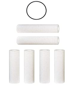 Compatible for WHKF-GD05 Whirlpool, 3M Aqua-Pure AP110 Filter, Grooved 5 Micron Water Filter Cartridges Set of 6, O-ring for WHKF-DWHV, WHKF-DWH, WHKF-DUF