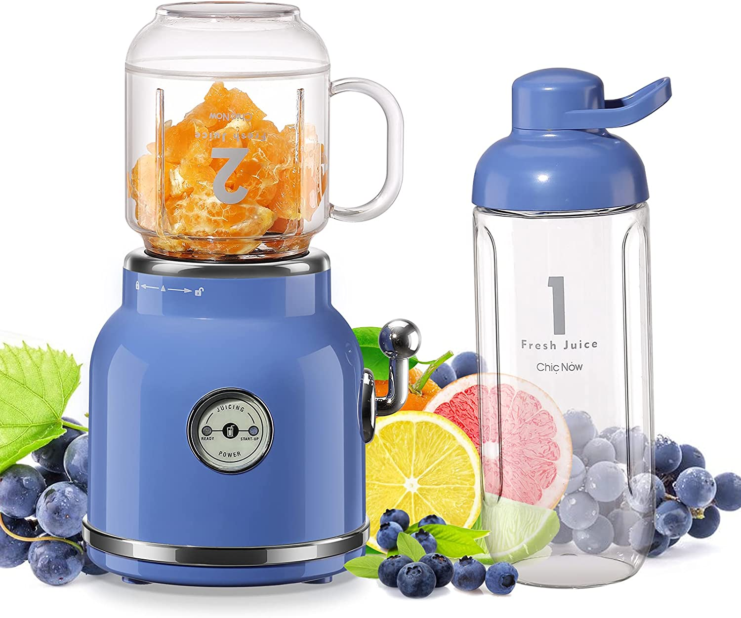 Smoothie Blender, Chic Now Personal Blender for Shakes and Smoothies, Portable Blender with 6 Sharp Blades, 21 oz Portable Cup for Sports Travel and Home, Blue