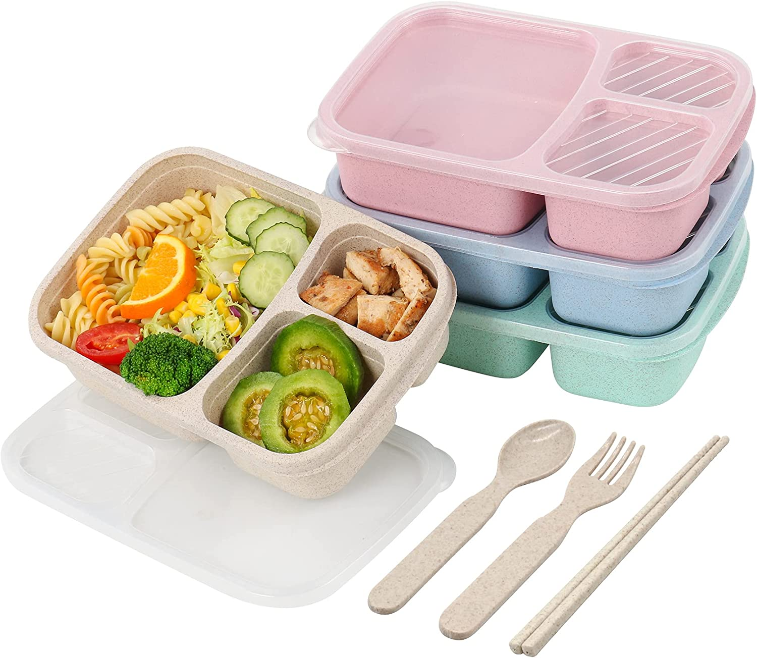 4 Pack Bento Lunch Box,3-Compartment Meal Prep Containers,Lunch Box for Kids,Durable BPA Free Plastic Reusable Food Storage Containers - Stackable, Suitable for Schools, Companies,Work and Travel