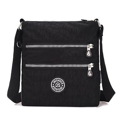 Tiny Chou Multilayer Zipper Pockets Water Resistant Nylon Fabric Crossbody  Bag Shoulder Bag for Girl 5902b1e681f83