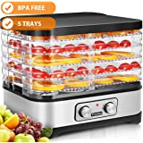 Food Dehydrator Machine, 5 Dryer Trays -BPA Free Drying System With Nesting Tray - For Beef Jerky Preserving Wild Food and Fruit Vegetable Dryer in Home Kitchen (Button/ 5-Tray)