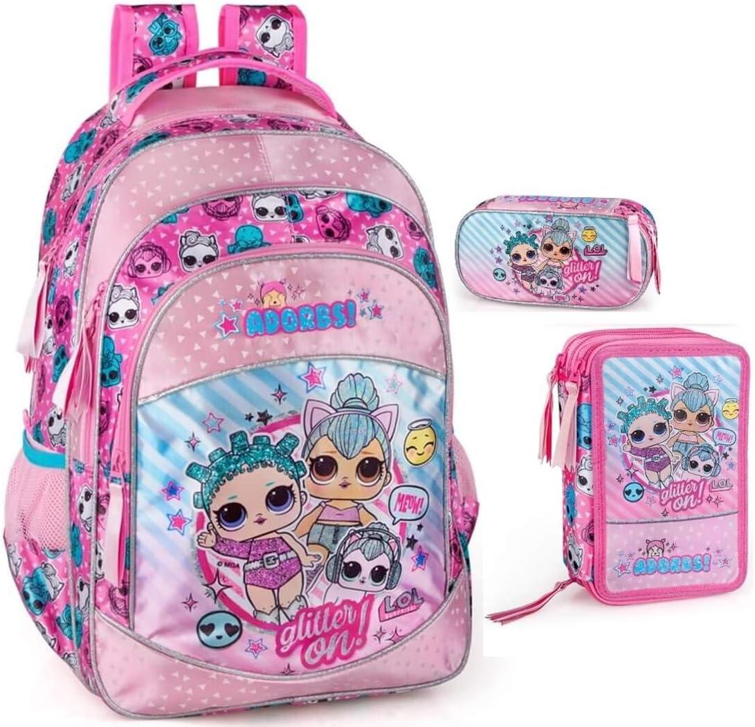 LOL Surprise - Mochila escolar para niña, estuche L.O.L. Muñecas: Amazon.es: Equipaje