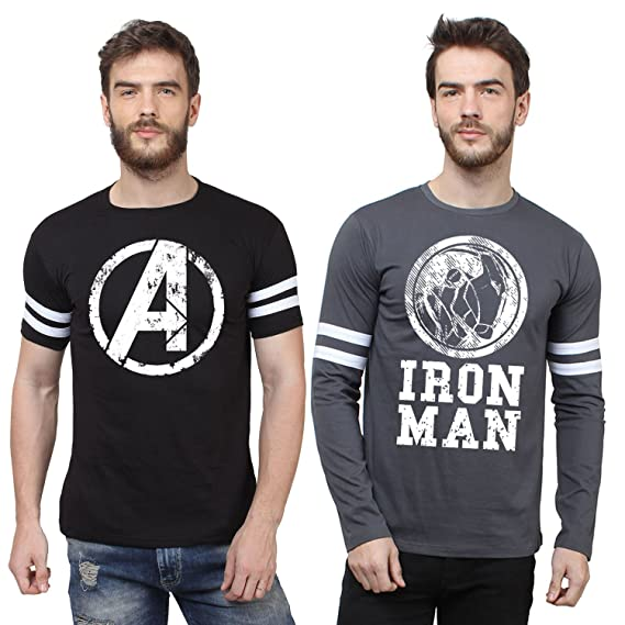 21fe6caf33c9 Marvel Printed Men's Round Neck Black, White, Grey T-Shirt (Pack of 2)