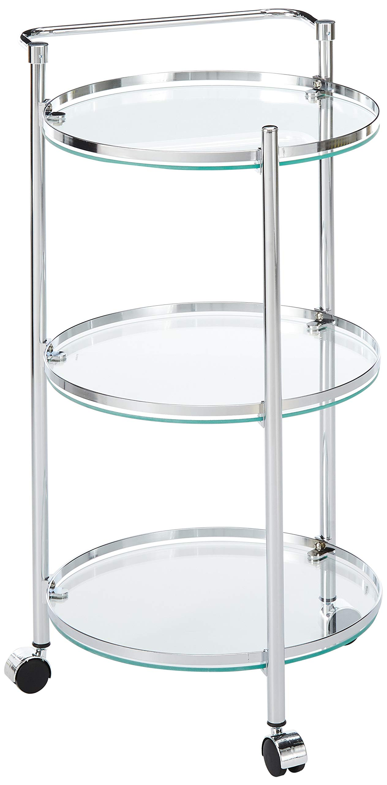 Organize It All Rolling 3 Tier Glass Circular Serving Cart by Organize It All