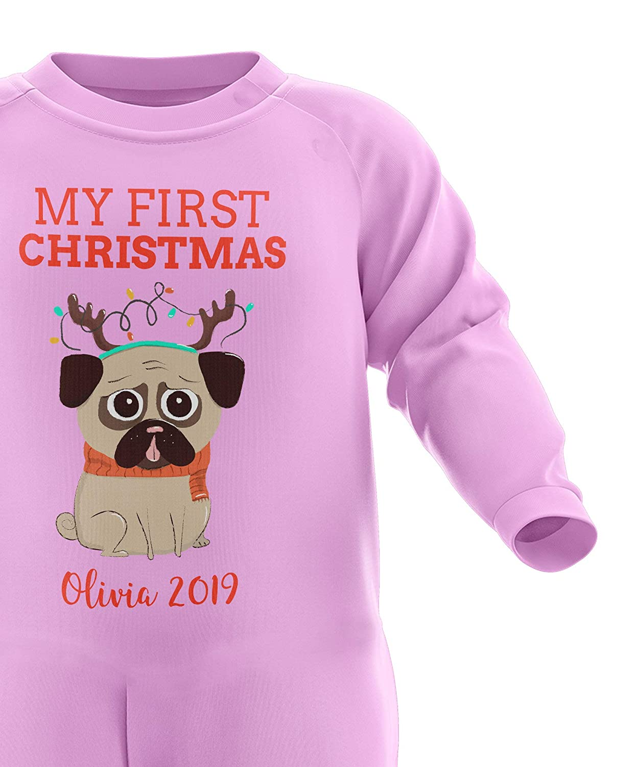 Custom Baby Christmas Outfit Christmas Pyjamas Cute First Xmas Gifts Personalised My First Christmas Babygrow FunkyShirt My 1st Christmas Personalised Baby Romper Babys First Christmas
