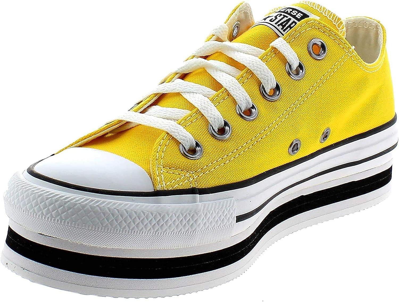 Converse, CTAS Layer Amarillo 567998C, Zapatillas Plataforma para Mujer,