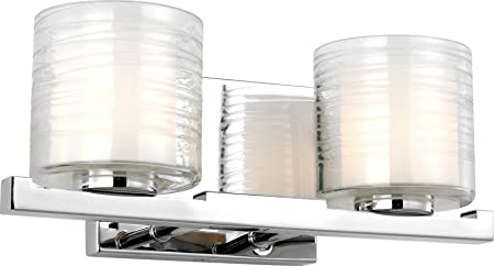 Feiss Vs24202ch Volo Glass Wall Vanity Bath Lighting Chrome 2 Light 14 W X 6 H 80watts