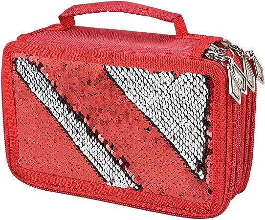 Asiv Estuche para lápices de Gran Capacidad con 4 Compartimentos [Diseño de Lentejuelas + 72 Ranuras] Bolsa de Almacenamiento de papelería con Cierre de [Rojo]: Amazon.es: Hogar