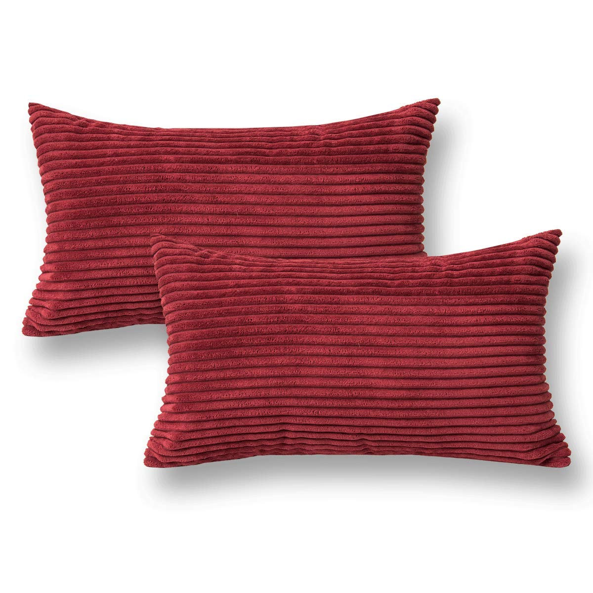 Jeanerlor 2 Pcs Corduroy Throw Pillow Cover Cushion Case from Home Decor for Toddler (Boy or Girl), 12x20 inch (30 x 50 cm), Red Wine