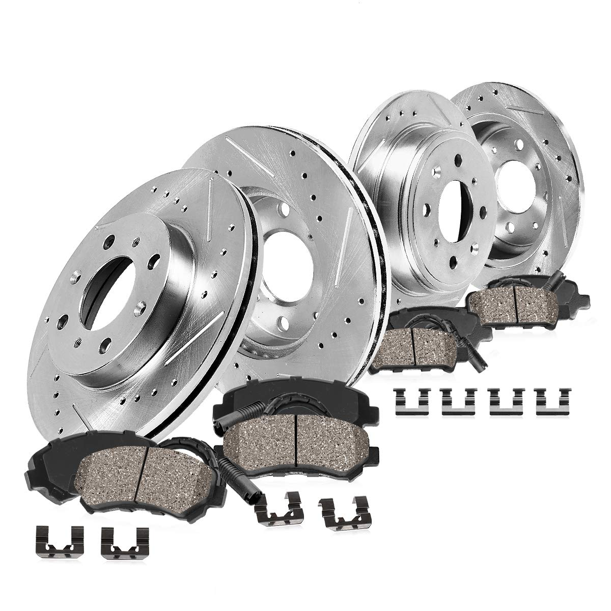 Brake System For 2002-2006 Mini Cooper Front Black Drill Slot Brake Rotors+Semi-Met Brake Pad