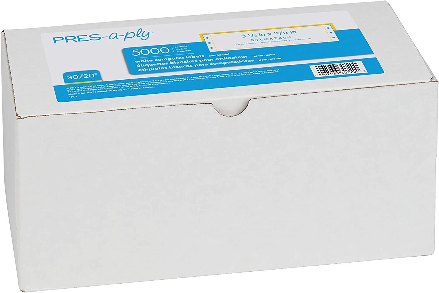Pres-a-Ply Labels PRFIX White 3.5 X 0.96 Inches Box of 5000 Pin-Fed Computer Labels 30720