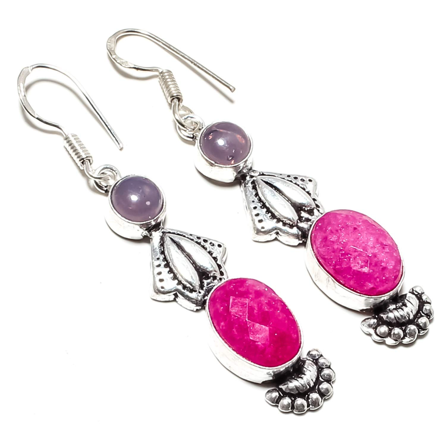 jewelsempire Beautiful Pink Ruby Gemstone Earrings SF-613 /… 925 Silver Plated Handmade Jewelry- Dangle and Drop Earrings -