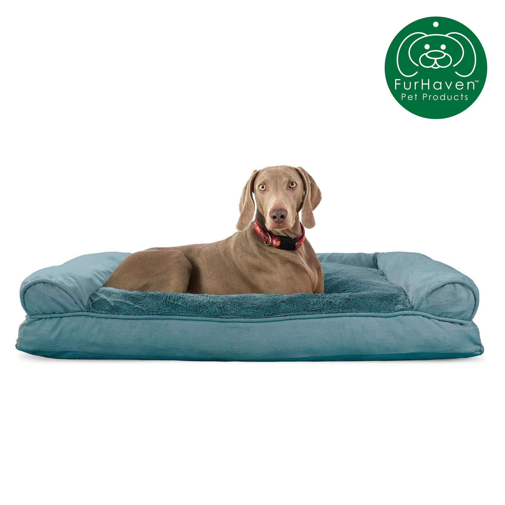 Furhaven Pet Dog Bed | Ultra Plush Faux Fur & Suede Pillow Cushion Traditional Sofa-Style Living Room Couch Pet Bed w/ Removable Cover for Dogs & Cats, Deep Pool, Jumbo by Furhaven