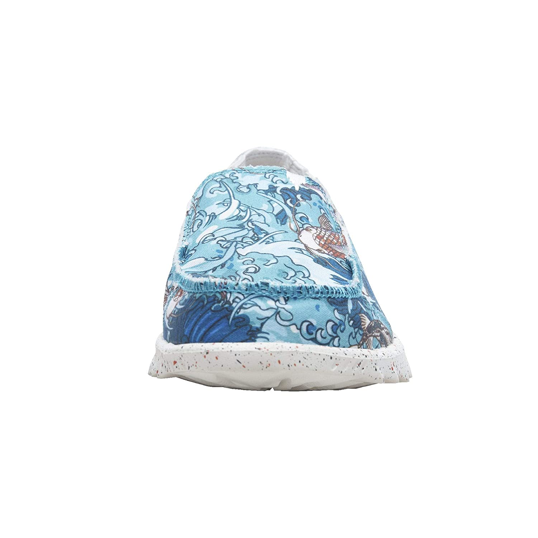 Dude Shoes Hommes en Toile dimpression Farty Bleu Koi