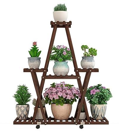 Amazon Com Zengai Mobile Flower Pot Rack Shelving Indoor