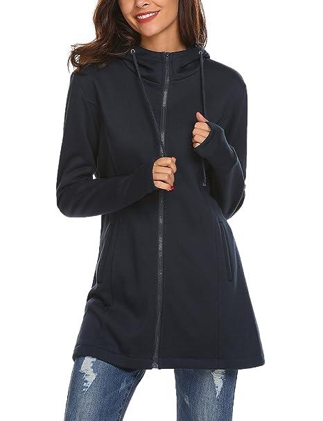 071fabeaa Women Sport Casual Zipper Longline Hoodies Sweatshirt Outwear Plain Pocket Fleece  Jacket Long Coat Tunic