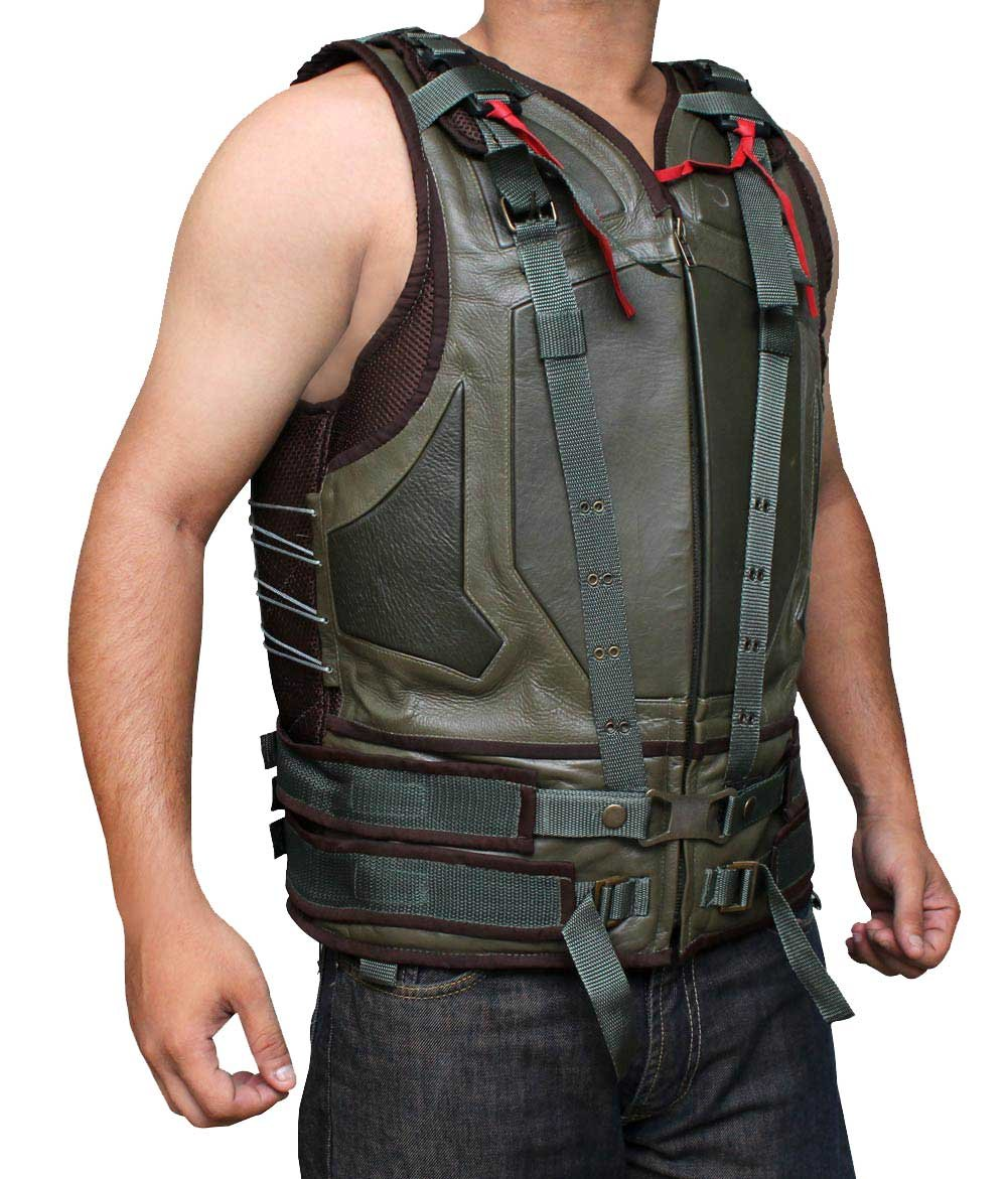 BV Baine Green Leather Spring Military Vest For Men - Eco Friendly PU Leather (XL) by BlingSoul