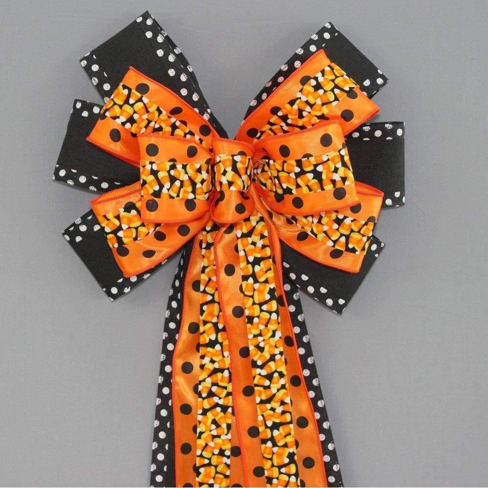 Candy Corn Polka Dot Halloween Wreath Bow - 10