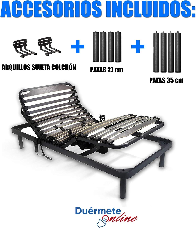 Duermete Cama Eléctrica Articulada 5 Planos Bastidor Reforzado y Taco de Caucho con Patas de 27cm y 35cm, Haya, Pintura Epoxi Gris, 90x190