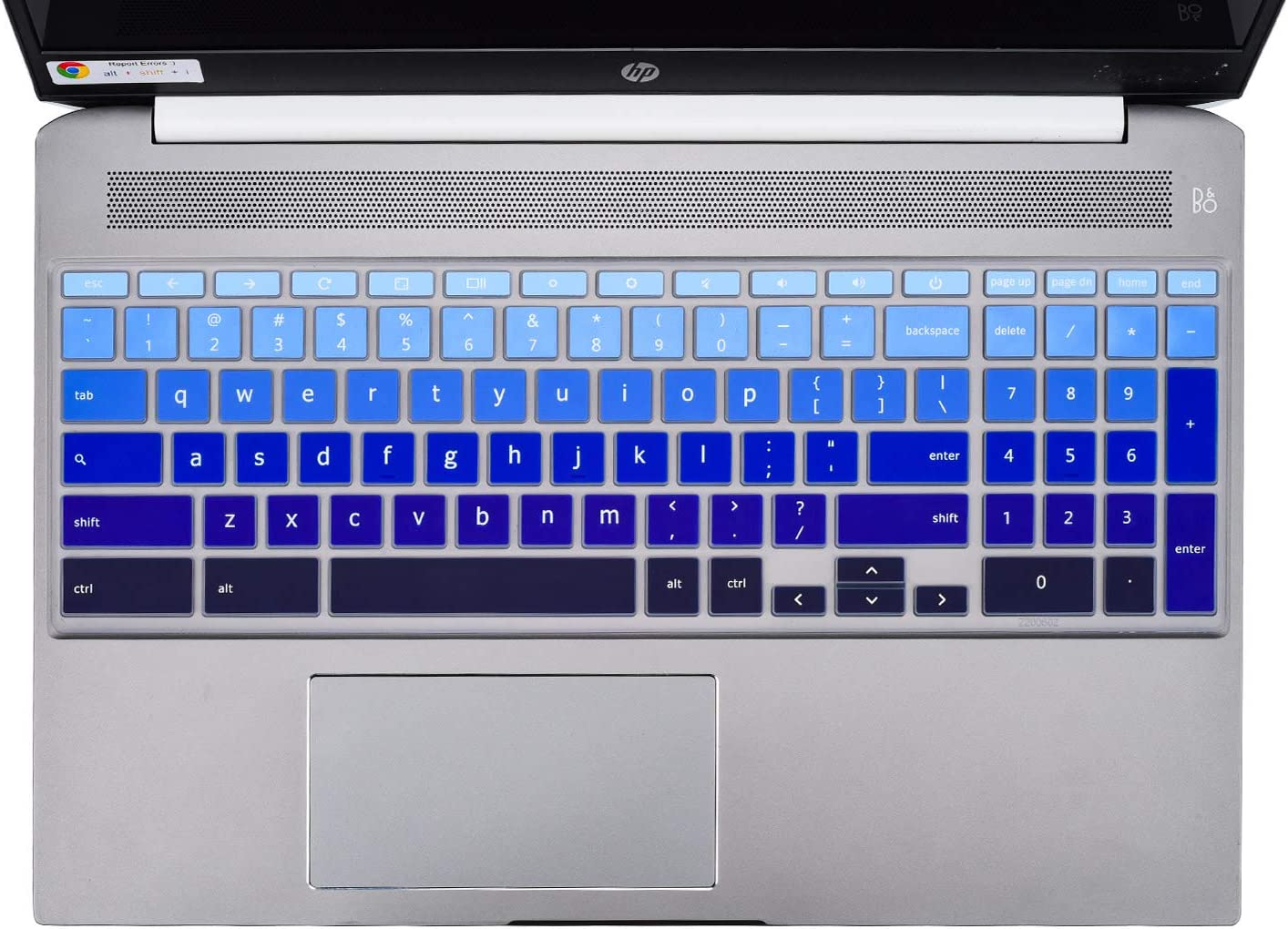 "HP Chromebook 15.6"" Keyboard Cover Skins Compatible with 2020 New HP Chromebook 15.6-Inch Laptop 15-de0010nr 15-de0517wm 15-de0523dx(Ombre Blue6S)"