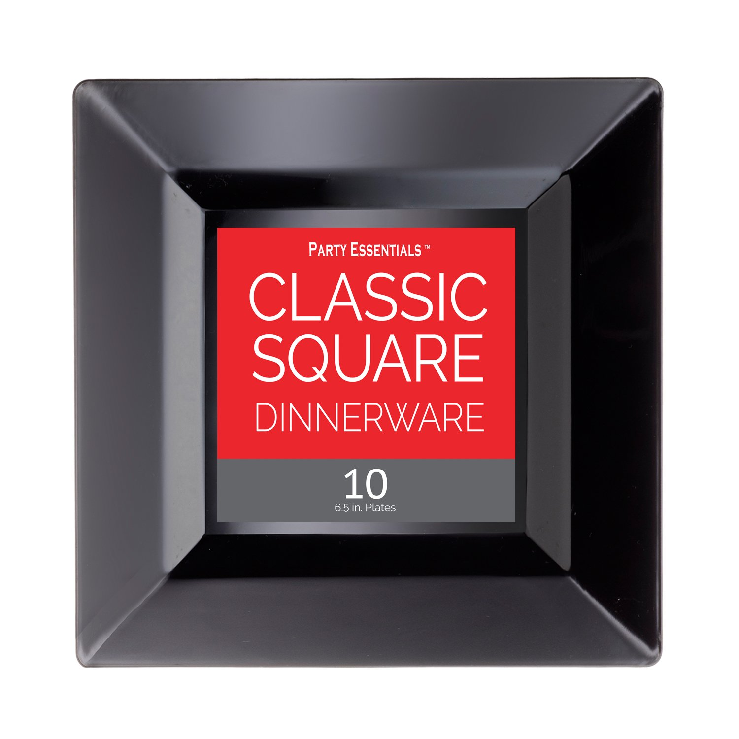 Party Essentials N691017 Classic Square Plates, 6.5'', Black (Pack of 120) by Party Essentials (Image #1)