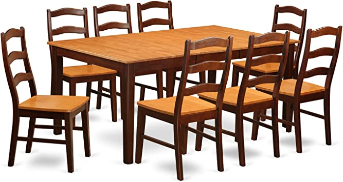 HENL9-BRN-W 9 PC Dining room set for 8-Dining Table with Leaf and 8 Dining  Chairs.