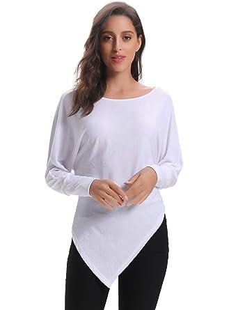 557ef10b31c81 Abollria Tunique Femme Coton Manche Longues Blouse Longue Haut Femme Top  Chic T Shirt Chauve-