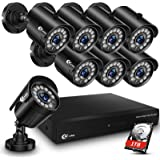 XVIM 8CH 1080P Wired Security Camera System Outdoor with 1TB Hard Drive Pre-Install CCTV Recorder 8pcs HD 1920TVL Outdoor Hom