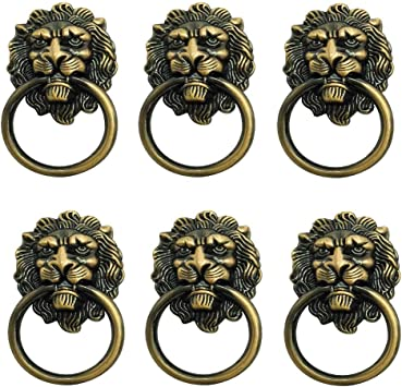Vintage Lion Head Furniture Door Pull Handle Knob Cabinet Dresser Drawer Ring A
