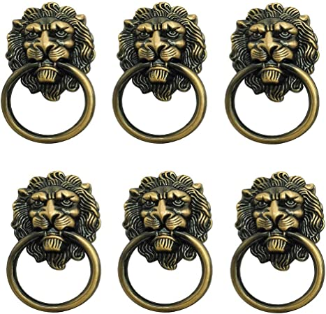 6 Pack Lion Head Knob Pull Handle For Dresser Drawer Cabinet
