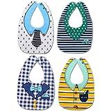 Confezione da 4 Cotone neonati Bavaglini Impermeabili ultra assorbenti Drool Saliva Asciugamano Bavaglino unisex per Neonato Bambino ragazzi ragazze