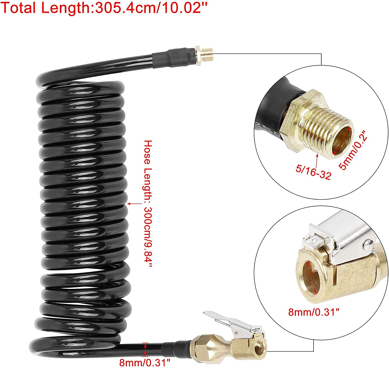 X AUTOHAUX Black Car Flexible Tire Inflator Hose with Locking Air Chuck 0.31 Outer Diameter by 9.84 Long Air Hose with 5//16-32 Quick Fittings