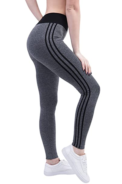 KINDOYO Womens Side Stripe Slimming Yoga Leggings ,Pilates ...