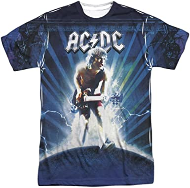 AC-DC ACDC Rock Band LIGHTNING 1-Sided Sublimated Big Print Poly T-Shirt