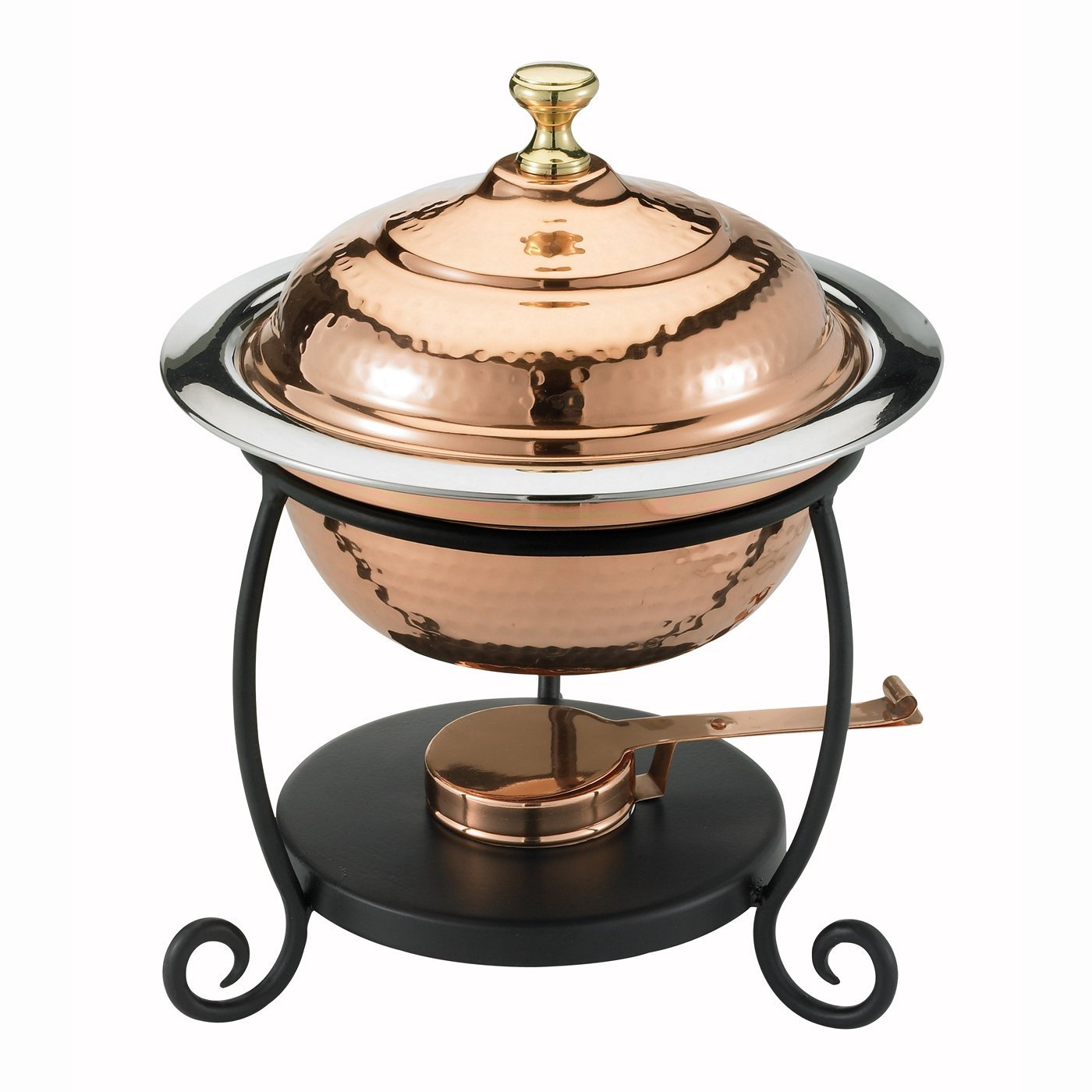 Old Dutch 890 Round Décor Copper Over Stainless Steel Chafing Dish, 1-3/4-Quart, 10 by 12-1/4-Inch