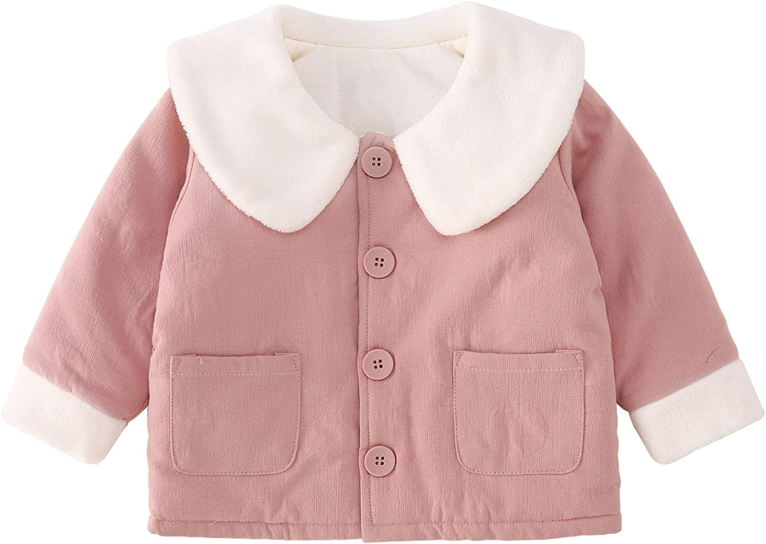 pureborn Baby Girls Jacket Peter Pan Collar Outfit Winter Autumn Cotton Warm Cotton Coat Top Pink 1-2 Years