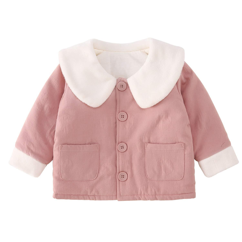 pureborn Baby Girls Jacket Peter Pan Collar Outfit Winter Autumn Cotton Warm Cotton Coat Top Pink 1-2 Years