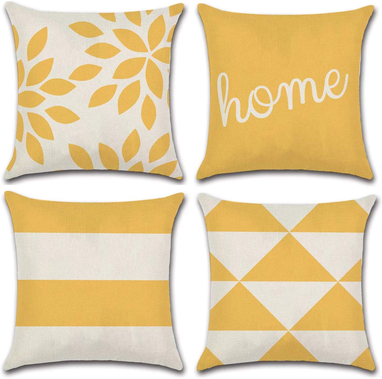 JOJUSIS Modern Geometric Throw Pillow Covers Cotton Linen Home Decor 16 x 16 inch Set of 4 Home Yellow