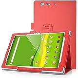 KuGi Qua tab PZ ケース スタンドカバー 薄型 軽量 Qua tab PZ 10.1インチ カバー 傷つけ防止 内蔵マグネット開閉式 PUレザーカバー Qua tab PZ LGT32SWA スマートケース レッド