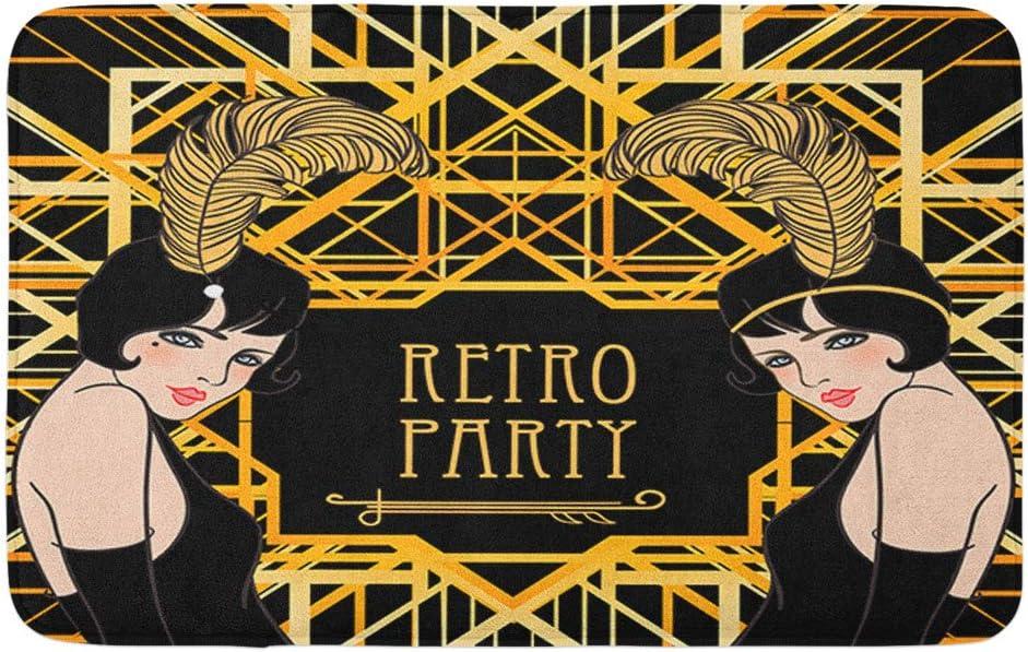 "Adowyee Bath Mat Flapper Girl Retro Party Invitation Design Charleston 1920S 1930S 20S 30S Beautiful Cozy Bathroom Decor Bath Rug with Non Slip Backing 16"" X 24"""