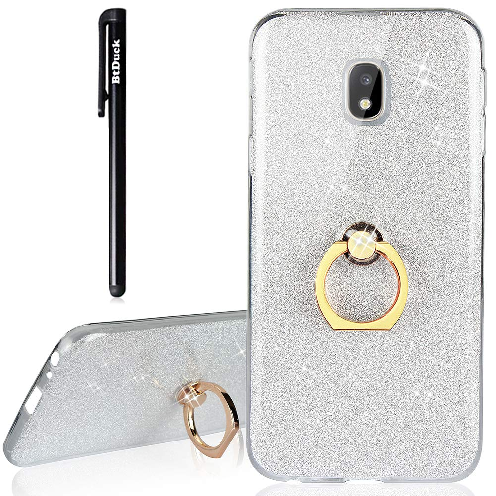 BtDuck Samsung Galaxy J3 2017 J330 Case Glitter Soft TPU Silicone Case Finger Grip Ring Stand Holder Phone Protector Shiny Bling Case Clear View Crystal Cover Cute Gold for Girls Luxury